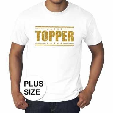 Toppers - grote maten topper shirt wit met gouden glitters heren