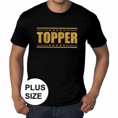Toppers - grote maten topper t-shirt zwart met gouden letters heren