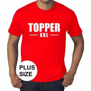 Toppers - grote maten topper xxl t-shirt rood heren