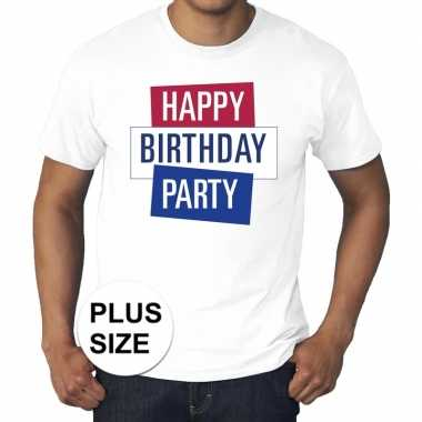 Toppers - grote maten wit toppers happy birthday party t-shirt offic