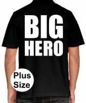 Grote maten big hero polo shirt zwart voor heren
