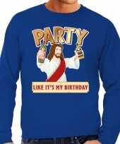 Grote maten blauwe foute kersttrui sweater party jezus voor heren