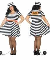 Grote maten carnaval feest boeven gevangenen bonnie verkleedoutfit jurkje voor dames