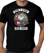 Grote maten fout kerstshirt outfit dont fuck with santa zwart voor heren