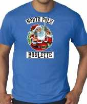 Grote maten fout kerstshirt outfit northpole roulette blauw voor heren