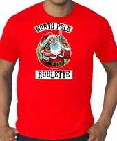 Grote maten fout kerstshirt outfit northpole roulette rood voor heren