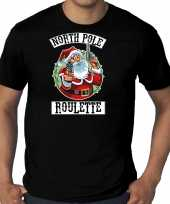 Grote maten fout kerstshirt outfit northpole roulette zwart voor heren