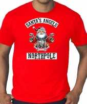 Grote maten fout kerstshirt outfit santas angels northpole rood voor heren