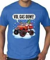 Grote maten fout kerstshirt t-shirt blauw monstertruck santa voor heren