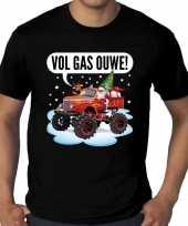 Grote maten fout kerstshirt t-shirt zwart monstertruck santa voor heren