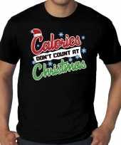 Grote maten foute kerst-shirt zwart calories dont count at christmas voor heren