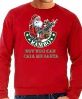 Grote maten foute kerstsweater outfit rambo but you can call me santa rood voor heren