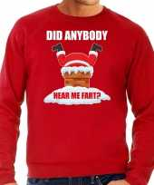 Grote maten fun kerstsweater outfit did anybody hear my fart rood voor heren