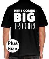 Grote maten here comes big trouble polo shirt zwart voor heren