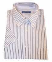 Grote maten heren overhemd wit gestreept met korte mouwen 10015772