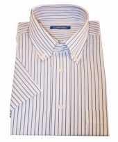 Grote maten heren overhemd wit gestreept met korte mouwen 10015781