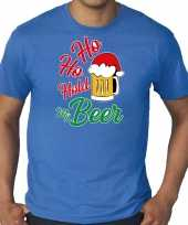 Grote maten ho ho hold my beer fout kerstshirt outfit blauw voor heren