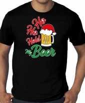 Grote maten ho ho hold my beer fout kerstshirt outfit zwart voor heren