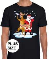 Grote maten kerst t-shirt dronken kerstman en rudolf zwart
