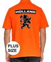 Grote maten koningsdag poloshirt holland met leeuw oranje heren