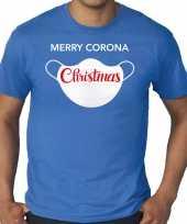 Grote maten merry corona christmas fout kerstshirt outfit blauw voor heren