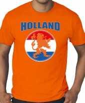Grote maten oranje t-shirt holland nederland supporter holland met oranje leeuw ek wk voor heren