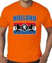 Grote maten oranje t shirt holland nederland supporter met een nederlands wapen ek wk voor heren