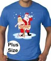 Grote maten plus size blauw fout kerst t-shirt best christmas party ever voor heren