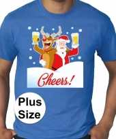 Grote maten plus size blauw fout kerst t-shirt dronken kerstman rudolf voor heren