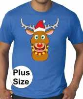 Grote maten plus size blauw fout kerst t-shirt rudolf het rendier voor heren