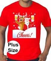 Grote maten plus size rood fout kerst t-shirt dronken kerstman rudolf voor heren