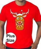 Grote maten plus size rood fout kerst t-shirt rudolf het rendier voor heren