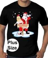 Grote maten plus size zwart fout kerst t-shirt best christmas party ever voor heren