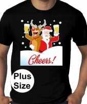 Grote maten plus size zwart fout kerst t-shirt dronken kerstman rudolf voor heren
