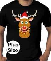 Grote maten plus size zwart fout kerst t-shirt rudolf het rendier voor heren