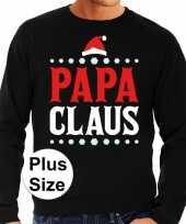 Grote maten plus size zwarte foute kersttrui sweater papa claus voor heren