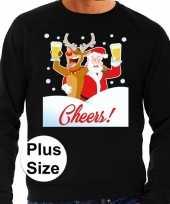 Grote maten plus size zwarte foute kersttrui sweater proostende kerstman rendier voor heren