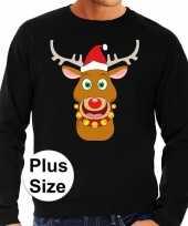 Grote maten plus size zwarte foute kersttrui sweater rudolf rendier voor heren