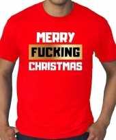 Grote maten rood fout kerstshirt t-shirt merry fucking christmas voor heren