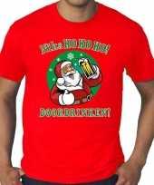 Grote maten rood fout kerstshirt t-shirt niks ho ho ho doordrinken voor heren