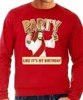 Grote maten rood foute kersttrui sweater party jezus voor heren