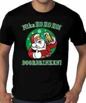Grote maten zwart fout kerstshirt t-shirt niks ho ho ho doordrinken voor heren