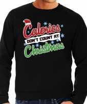 Grote maten zwarte foute kersttrui sweater calorieen tellen niet tijdens kerst voor heren