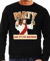 Grote maten zwarte foute kersttrui sweater party jezus voor heren