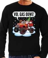 Grote maten zwarte foute kersttrui sweater racende santa op monstertruck voor heren