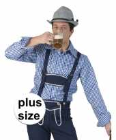 Maten grote maat carnavalskleding blauw witte overhemd voor heren