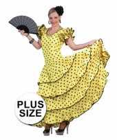 Maten grote maat verkleedkleding gele flamencojurk