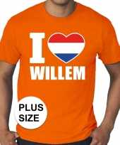 Oranje i love willem grote maten shirt heren