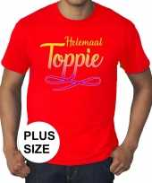 Toppers grote maten helemaal toppie t-shirt rood heren